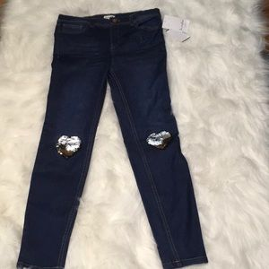 NWT Love,Fire Girls Size 12 jeans w/  sequin patch